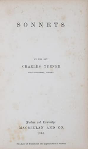 Sonnets [INSCRIBED]: Turner, Charles