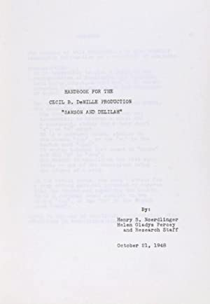 "Handbook for the Cecil B. DeMille Production ""Samson and Delilah"": Henry S. Noerdlinger, ..."
