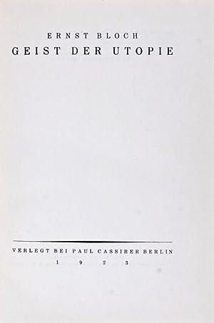 Geist der Utopie: Bloch, Ernst