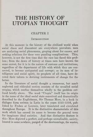 The History of Utopian Thought: Hertzler, Joyce Oramel