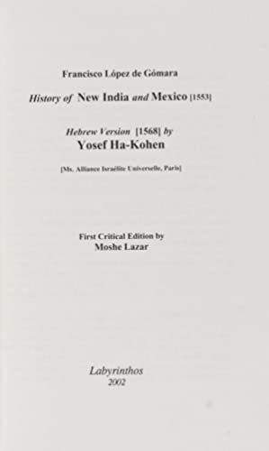 History of New India and Mexico [1553]; Hebrew Version [1568] by Yosef Ha-Kohen [Ms. Alliance Isra&...