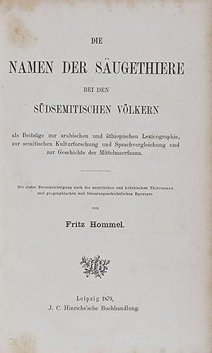 Die Namen der Säugethiere bei den südsemitischen Völkern, als Beiträge zur ...