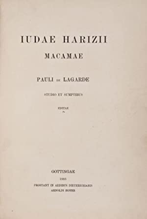 Judae Harizii Macamae Pauli de Lagarde studio: Alharizi, Yehuda (also