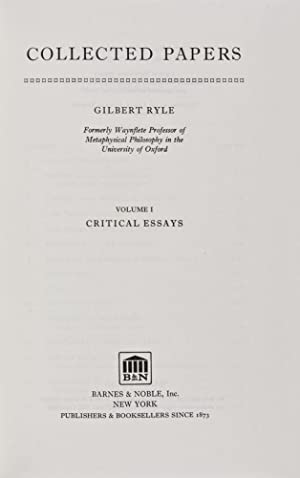 Collected Papers: Volume I: Critical Essays; Volume Two: Collected Essays 1929-1968. 2-vol. set (...