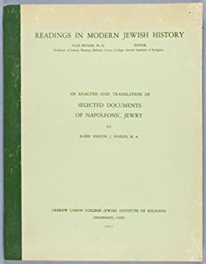 An Analysis and Translation of Selected Documents of Napoleonic Jewry: Maslin, Simeon J.