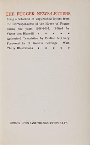 The Fugger News-Letters (2 volumes): Klarwill, Victor von