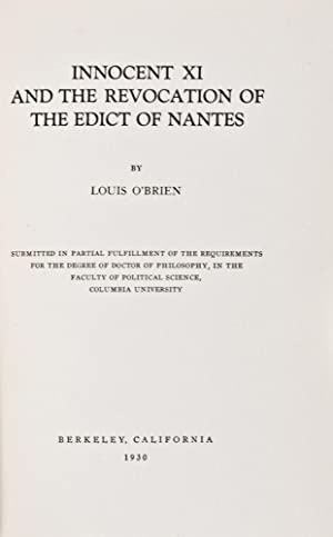 Innocent XI and the Revocation of the Edict of Nantes: O'Brien, Louis