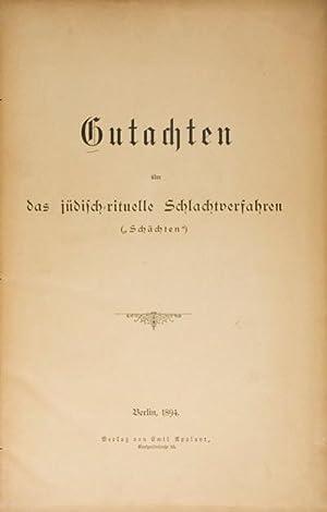 """Gutachten über das jüdisch-rituelle Schlachtverfahren (""""Schächten""""): n/a"""