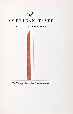 American Taste [SIGNED]: Mumford, Lewis