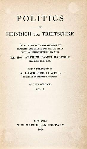 Politics: von Treitschke, Heinrich; Blanche Dugdale & Torben de Bille (transl.)