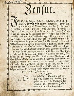 Sepher Habris: Horowitz, Phinehas Elijah b. Meir; Karl Fischer