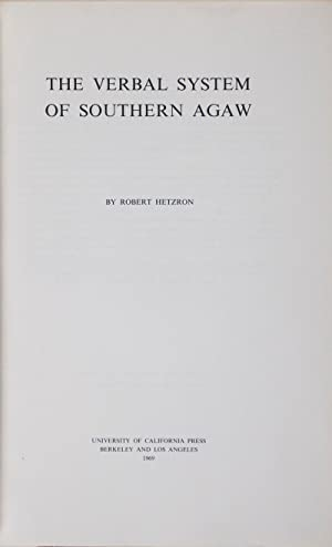 The Verbal System of Southern Agaw: Hetzron, Robert