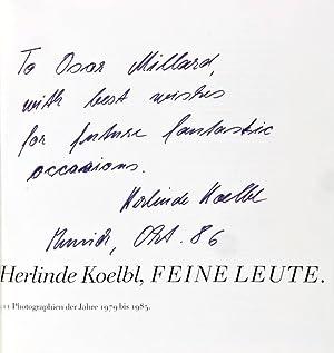 Herlinde Koelbl, Feine Leute: 111 Photographien der Jahre 1979 bis 1985 [Inscribed and signed]: ...