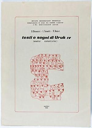 Testi e Segni di Uruk IV (Analisi Sintattiche) [SIGNED]: SIlvestri, D.; L. Tonelli; V. Valeri