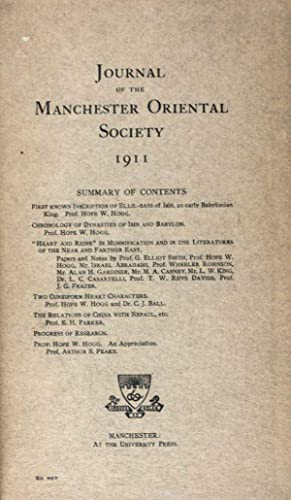 Journal of the Manchester Oriental Society 1911: Hogg, Hope W.
