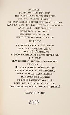 Le Balcon: Genet, Jean