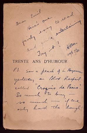 Trente ans D'Humour [Inscribed Association Copy]: MILLER, Henry). BRINGER,
