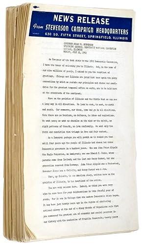 Archive of 1952 Presidential Campaign Speeches: STEVENSON, Adlai