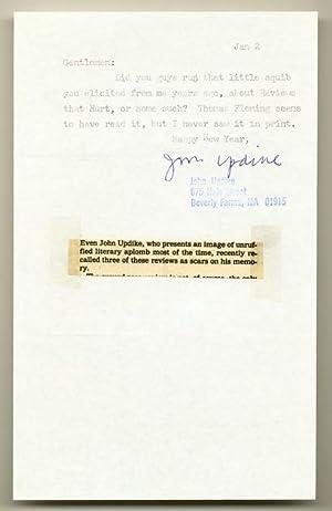 Typed Note Signed: UPDIKE, John
