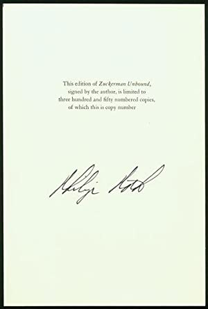 Signed Colophon for Zuckerman Unbound: ROTH, Philip