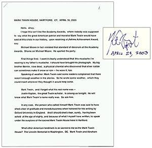 Speech at Mark Twain House, Signed: VONNEGUT, Kurt