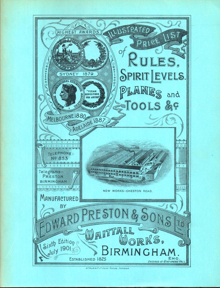 Illustrated Price List of Rules, Spirit Levels, Planes and Tools, &c., Manufactured by Edward ...