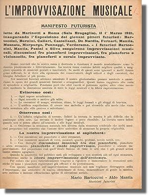 L'Improvvisazione Musicale: Manifesto Futurista: Futurist Music] Mario Bartoccini and Aldo ...