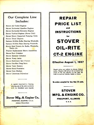 Repair Price List and Instructions for Stover: Stover Mfg. &