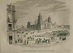 Vue De La Grande Place De Mexico. Original engraved print