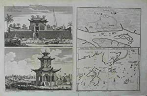 Chinese Temples. Plans from Canton. Shang Chwen Shan. Ma-kao. Original engraved Print. Antique ...