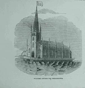 Floating Church for Philadelphia. Original engraved Print.