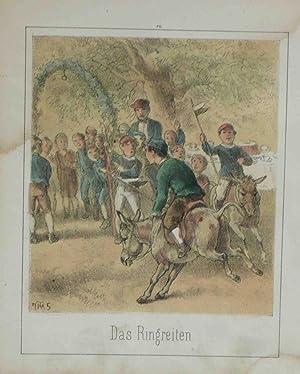Das Ringreiten. Original chromolithographic Engraving: Hosemann, Theodor