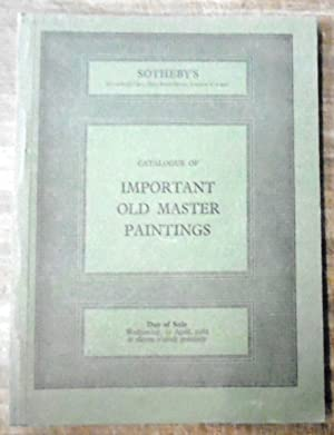 Catalogue of Important Old Master Paintings. Including