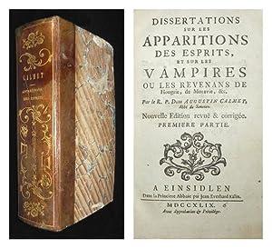 Dissertations sur les apparitions des esprits, et: CALMET, Augustin