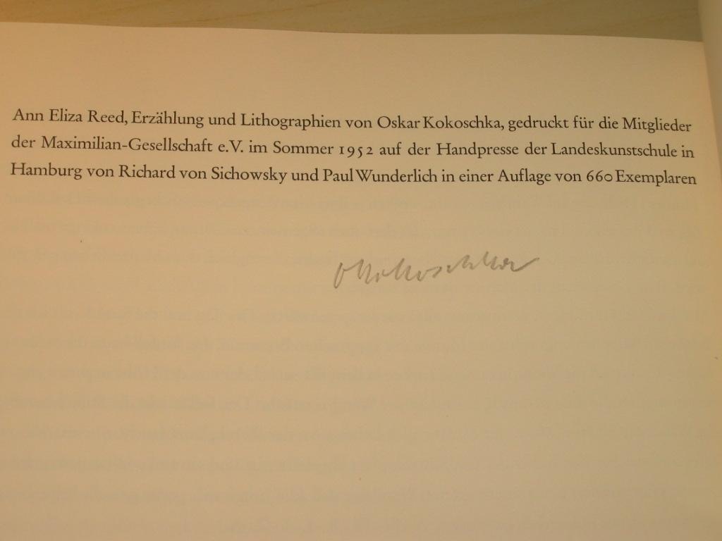 Ann Eliza Reed. Erzählung und Lithographien (signiert): Kokoschka, Oskar