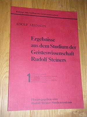 Ergebnisse aus dem Studium der Geisteswissenschaft Rudolf: Arenson, Adolf