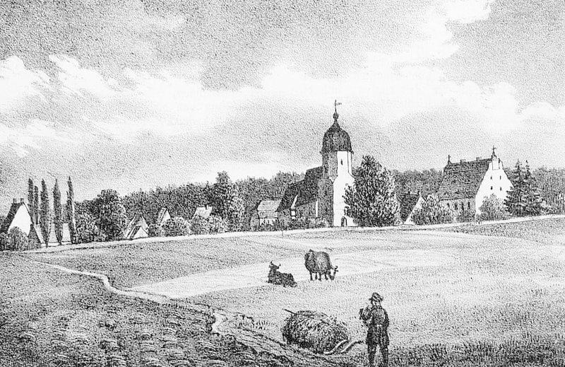 Seifersdorf (Wachau). - Teilansicht mit Pfarrkirche und Friedhof. - Sachsens Kirchen-Galerie. - &...