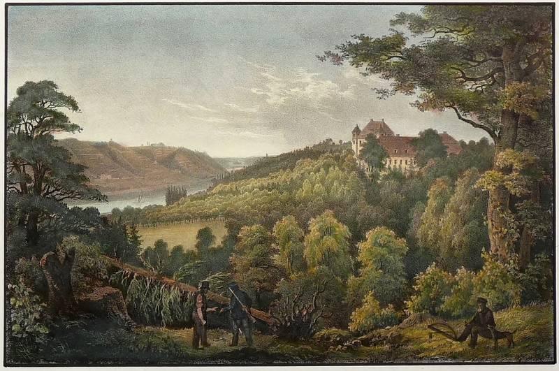 """Siebeneichen (Meißen). - Schloss. - """"Siebeneichen"""".: Carl Heinrich Wilhelm Münnich"""
