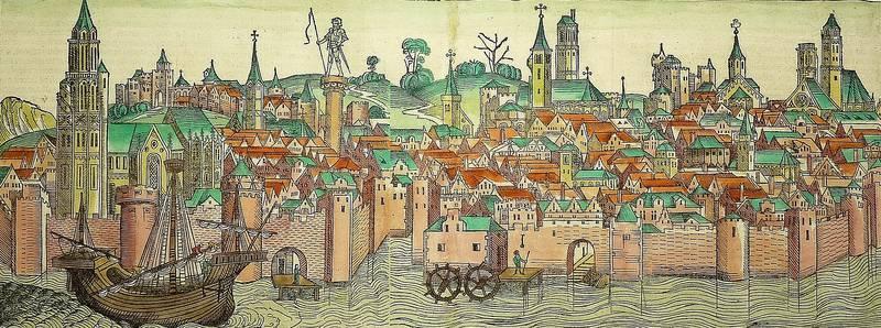 """Magdeburg. - Gesamtansicht. - Schedel. - """"Madeburga"""".: Hartmann Schedel"""