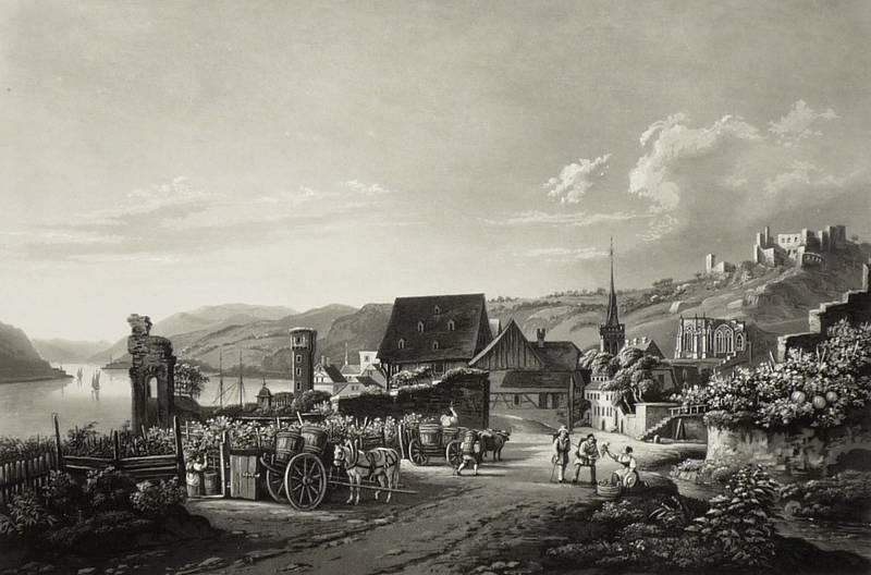 """Bacharach. - """"Vue de Bacharach et de la Ruine de Stahlek""""."""