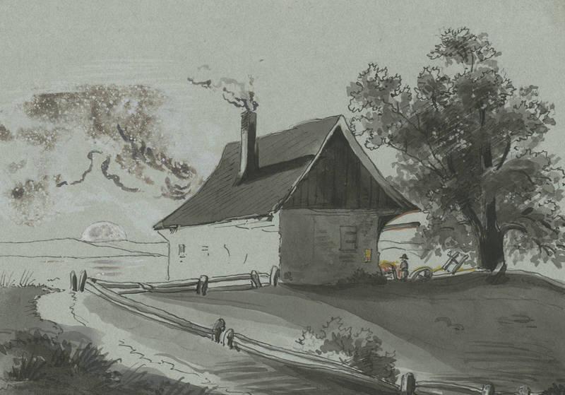 """Landschaftszeichner des 19. Jahrhunderts. - """"""""Einsames Haus"""""""". Softcover"""