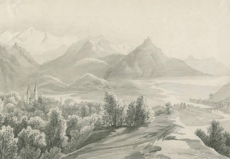 """Landschaftszeichner des 19. Jahrhunderts. - """"""""Tal""""""""."""