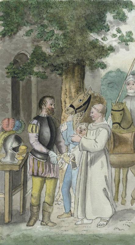 """Illustrator des 19. Jahrhunderts. - """"""""Ritter und Mönch""""""""."""