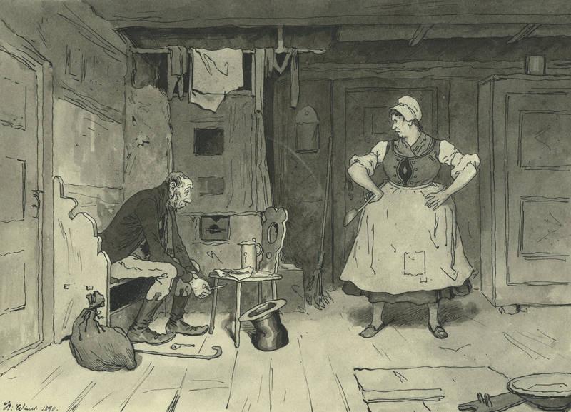 """Karikaturist des 19. Jahrhunderts. - """"""""Morgen nach die Kirmes""""""""."""