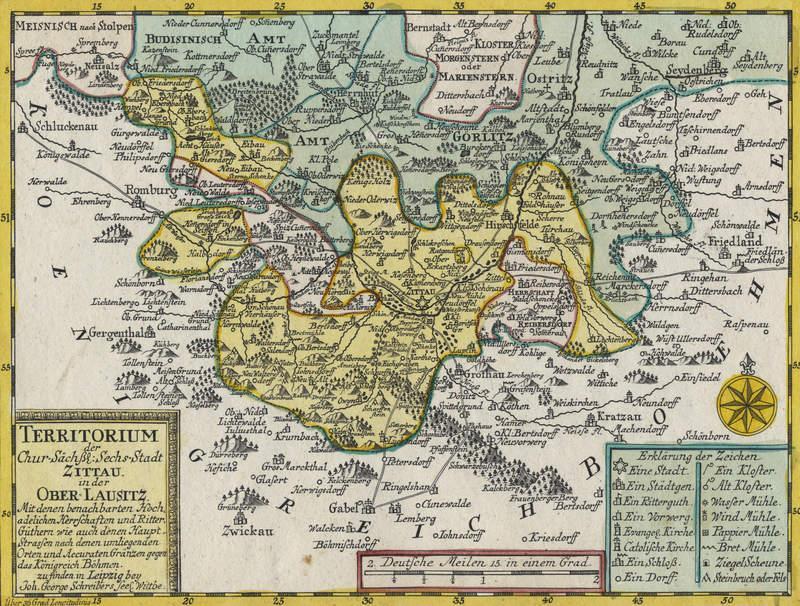 """Zittau. - Karte. - Johann Georg Schreiber. - """"""""Territorium der Chur. Sächs. Sechs-Stadt Zittau in der Ober-Lausitz""""""""."""