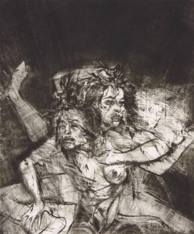 Kohl, Gisela. -  Die Verführung . Moderne Künstlergrafik. Radierung, 1987. Von Gisela Kohl. Exemplar 37 von 60. 29,3 x 24,5 cm (Darstellung ) / 47,5 x 33,8 cm (Blatt). Unterhalb der Da