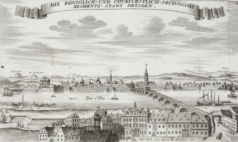 Ansicht,original-holzstich Von 1895 Die Carolabrücke Dresden Panorama