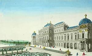 """Wien. - Oberes Belvedere. - Guckkastenblatt. - """"Maison de Plaisance de la Reine d'Hongrie..."""