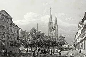 """Braunschweig. - """"Der Hagenmarkt mit der Catharinenkirche""""."""