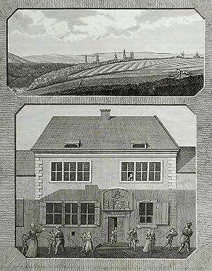 """Eisleben. - Gesamtansicht und Luthers Geburtshaus. - """"Luthers Vaterstadt Eisleben und das Haus..."""